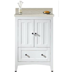 American Imaginations Xena Farmhouse 23.75-in White Bathroom Vanity with Quartz Top