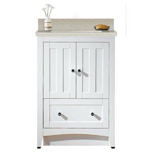 American Imaginations Xena Farmhouse 23.75-in White Bathroom Vanity with Quartz Top