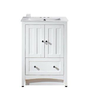 American Imaginations Xena Farmhouse 23.75-in White Bathroom Vanity with Ceramic Top
