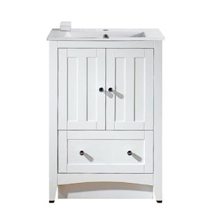 American Imaginations Xena Farmhouse 23.75-in White Bathroom Vanity with Ceramic Top