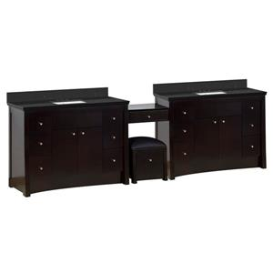 American Imaginations Xena Farmhouse 116.45-in Double Sink Brown Bathroom Vanity with Quartz Top