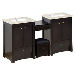 American Imaginations Xena Farmhouse 84.75-in Double Sink Brown Bathroom Vanity with Marble Top