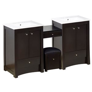 American Imaginations Xena Farmhouse 85.25-in Double Sink Brown Bathroom Vanity with Ceramic Top