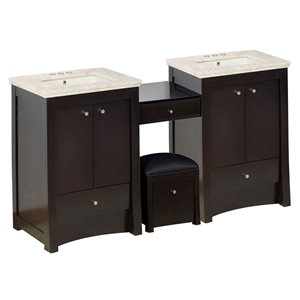 American Imaginations Xena Farmhouse 68.75-in Double Sink Brown Bathroom Vanity with Marble Top