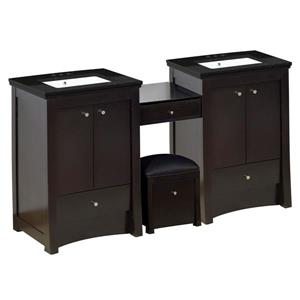 American Imaginations Xena Farmhouse 68.75-in Double Sink Brown Bathroom Vanity with Quartz Top