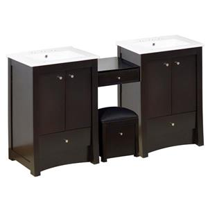 American Imaginations Xena Farmhouse 68.75-in Double Sink Brown Bathroom Vanity with Ceramic Top