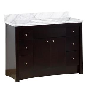 American Imaginations Xena Farmhouse 47.60-in Brown Bathroom Vanity with Marble Top