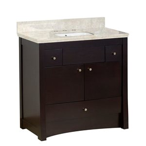 American Imaginations Xena Farmhouse 36-in Brown Bathroom Vanity with Quartz Top