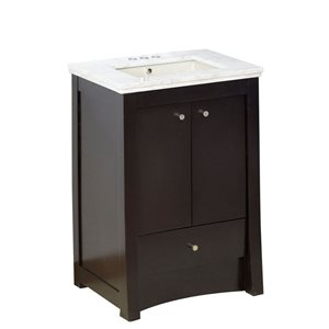 American Imaginations Xena Farmhouse 31.75-in Brown Bathroom Vanity with Marble Top