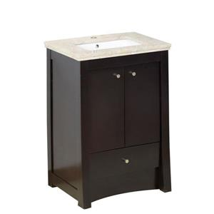 American Imaginations Xena Farmhouse 23.75-in Brown Bathroom Vanity with Marble Top