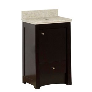 American Imaginations Xena Farmhouse 19.75-in Brown Bathroom Vanity with Marble Top