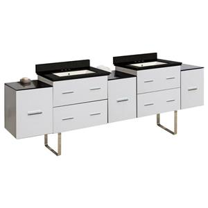 American Imaginations Xena Farmhouse 88.5-in Double Sink White Bathroom Vanity with Quartz Top