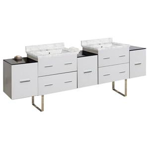 American Imaginations Xena Farmhouse 88.50-in Double Sink White Bathroom Vanity with Marble Top