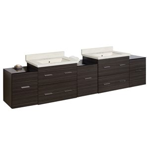 American Imaginations Xena Farmhouse 88.50-in Double Sink Grey Bathroom Vanity with Natural Marble Top