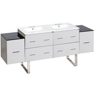 American Imaginations Xena Farmhouse 74-in Double Sink White Bathroom Vanity with Ceramic Top