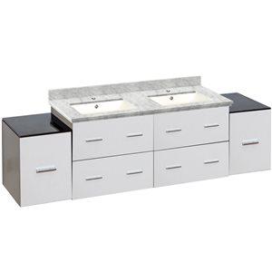 American Imaginations Xena Farmhouse 74-in Double Sink White Bathroom Vanity with Quartz Top