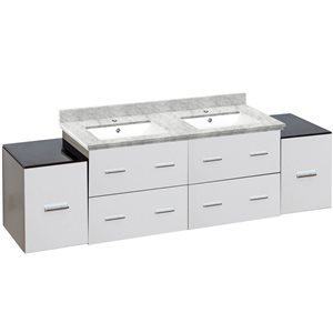 American Imaginations Xena Farmhouse 74-in Double Sink White Bathroom Vanity with Quartz Top