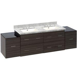 American Imaginations Xena 76-in Double Sink Gray Bathroom Vanity with Quartz Top