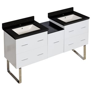 American Imaginations Xena Farmhouse 61.50-in Double Sink White Bathroom Vanity with Quartz Top