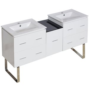 American Imaginations Xena Farmhouse 61.50-in Double Sink White Bathroom Vanity with Ceramic Top
