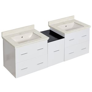 American Imaginations Xena Farmhouse 61.50-in Double Sink White Bathroom Vanity with Marble Top