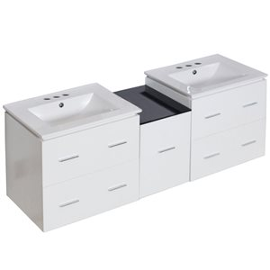 American Imaginations Xena Farmhouse 61.50-in Double Sink White Vanity with Ceramic Top