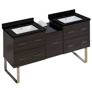 American Imaginations Xena 61.5-in Double Sink Gray Bathroom Vanity with Quartz Top