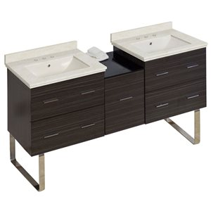 American Imaginations Xena 61.5-in Double Sink Gray Bathroom Vanity with Natural Marble Top