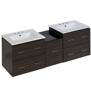 American Imaginations Xena 61.5-in Double Sink Gray Bathroom Vanity with Ceramic Top