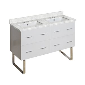 American Imaginations Xena Farmhouse 47.50-in Double Sink White Vanity with Quartz Top