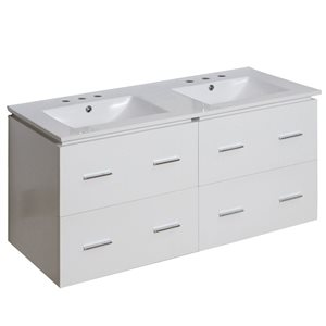 American Imaginations Xena Farmhouse 48-in Double Sink White Vanity with Ceramic Top