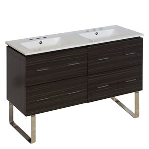 American Imaginations Xena 48-in Double Sink Gray Bathroom Vanity with Ceramic Top