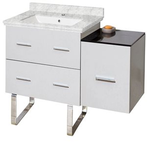 American Imaginations Xena Farmhouse 37.75-in White Vanity with Marble Top