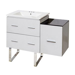 American Imaginations Xena Farmhouse 37.75-in White Vanity with Ceramic
