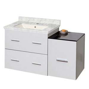 American Imaginations Xena Farmhouse 37.75-in White Bathroom Vanity with Marble Top