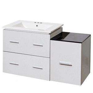 American Imaginations Xena Farmhouse 37.75-in White Bathroom Vanity with Ceramic Top