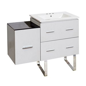 American Imaginations Xena Farmhouse 36.75-in White Bathroom Vanity with Ceramic Top