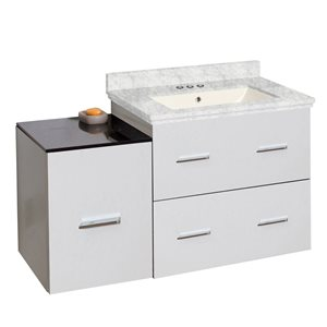 American Imaginations Xena Farmhouse 36.75-in White Bathroom Vanity with Marble Top