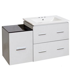 American Imaginations Xena Farmhouse 36.75-in White Bathroom Vanity with Ceramic Top
