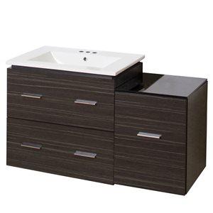 American Imaginations Xena Farmhouse 37.75-in Gray Bathroom Vanity with Ceramic Top