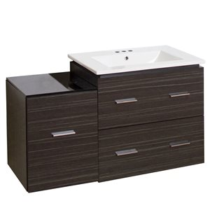 American Imaginations Xena Farmhouse 37.75-in Gray Bathroom Vanity with Ceramic Top