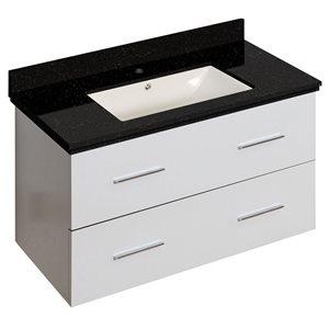 American Imaginations Xena Farmhouse 36.75-in  White Bathroom Vanity with Quartz Top