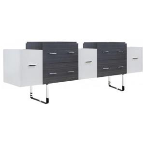 American Imaginations Xena 88.5-in White/Charcoal Vanity Base Set