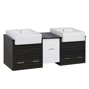 American Imaginations Xena Farmhouse 59.50-in White/Charcoal Vanity Base Set
