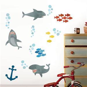 WallPops Shark Attack Wall Art Kit