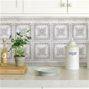 Brewster Wallcovering Vintage Tin Backsplash - White