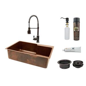 Premier Copper Products 33-in Single Basin Sink with Spring Pull Down Faucet Package