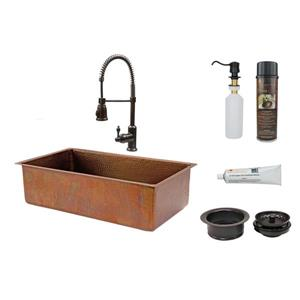 Premier Copper Products 33-in Antique Copper Single Basin Kitchen Sink w/Spring Pull Down Faucet Package