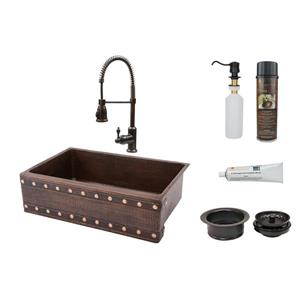 Premier Copper Products 33-in Barrel Strap Apron Single Basin Sink with Spring Pull Down Faucet Package