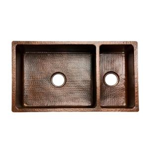 Premier Copper Double Basin Sink With Spring - 33-in
